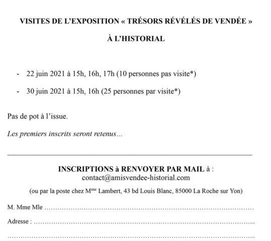 VISITES DE L'EXPOSITION « TRÉSORS RÉVÉLÉS DE VENDÉE » À L'HISTORIAL